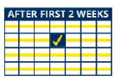Calendar showing FPG or fasting blood glucose monitoring schedule after the first 2 weeks of PIQRAY treatment